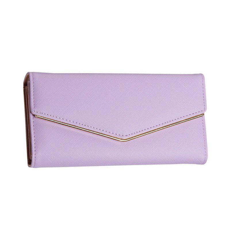 Women's Trifold Long Purse Casual Wallet Hand Bag Credit Card Holder - PURPLE