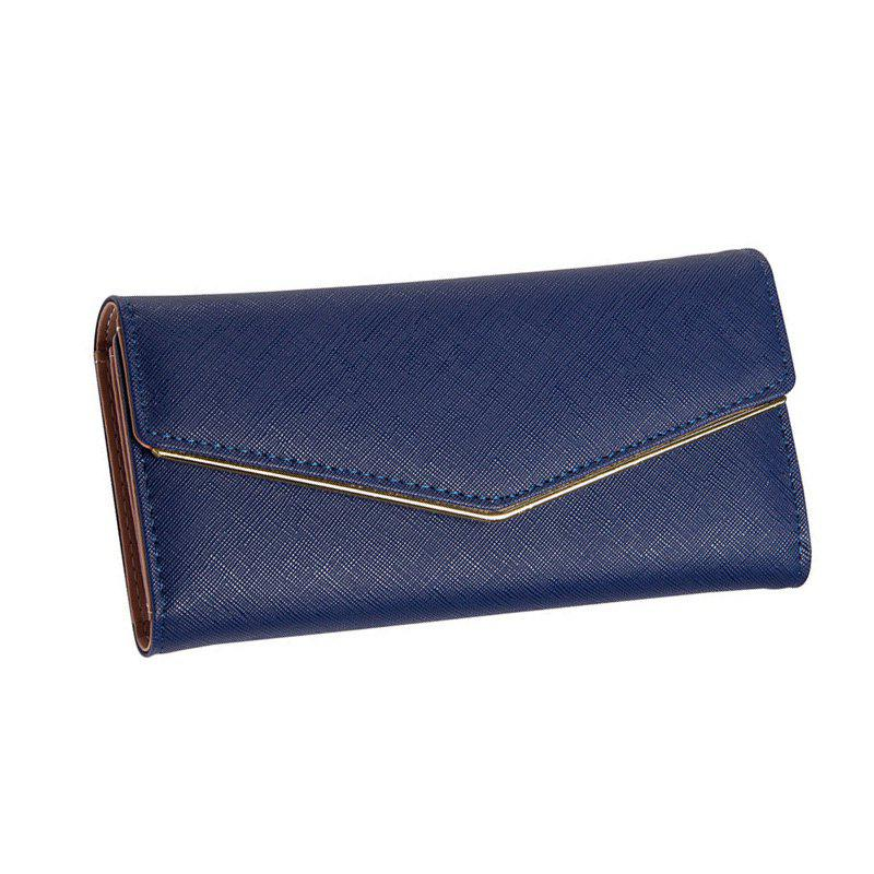 Women's Trifold Long Purse Casual Wallet Hand Bag Credit Card Holder - DARK BLUE