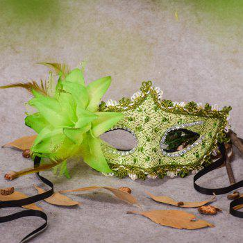 Lace Diamond Sequins Lily Princess Lace Halloween Party Feather Mask - GREEN