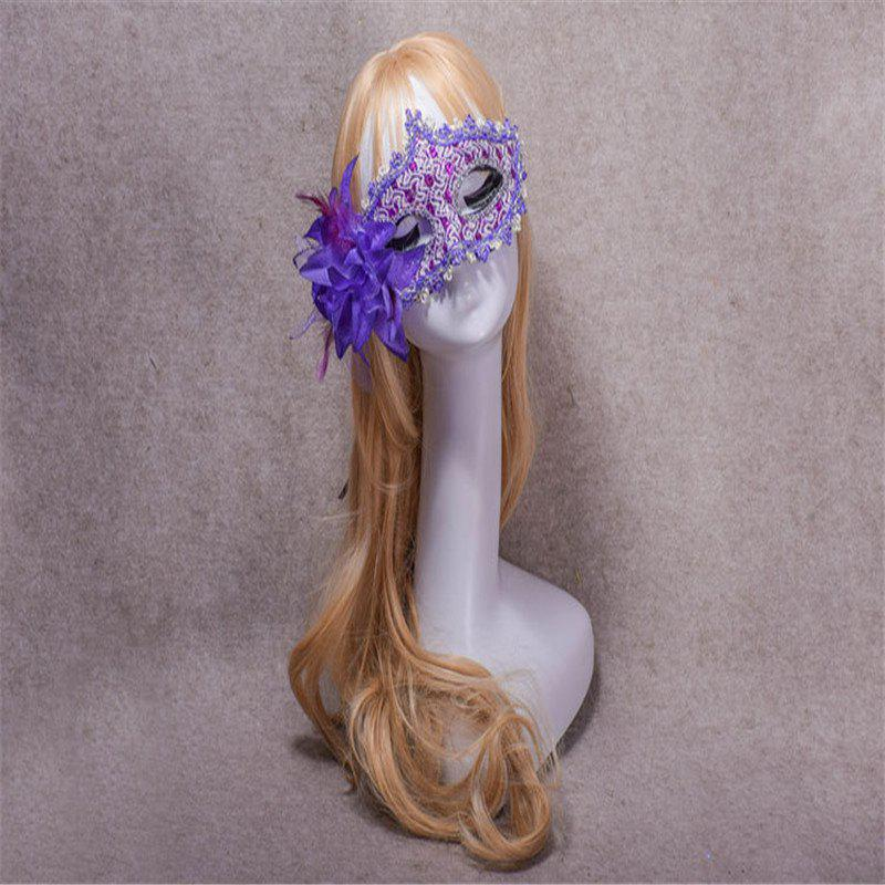 Lace Diamond Sequins Lily Princess Lace Halloween Party Feather Mask - PURPLE
