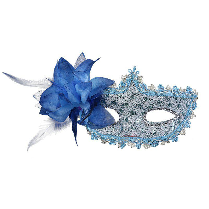 Lace Diamond Sequins Lily Princess Lace Halloween Party Feather Mask - BLUE