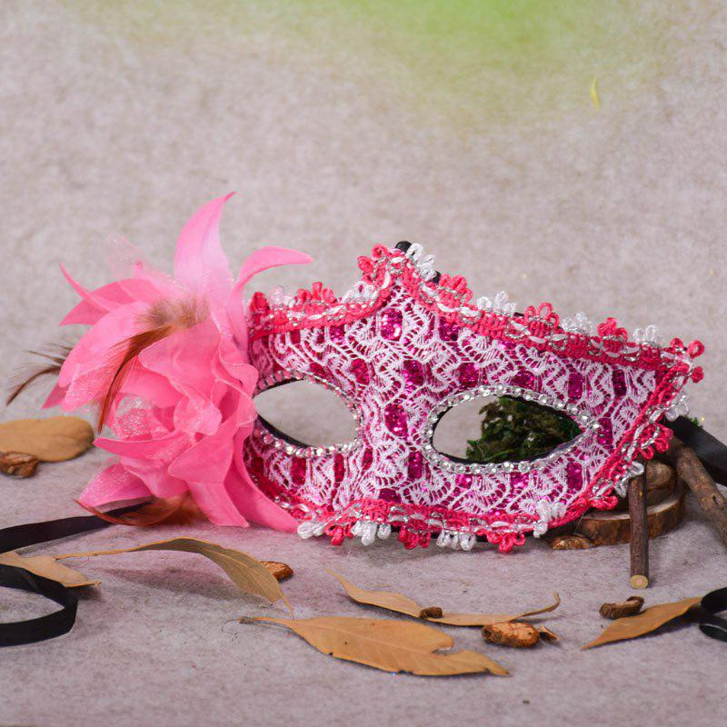 Lace Diamond Sequins Lily Princess Lace Halloween Party Feather Mask - PAPAYA