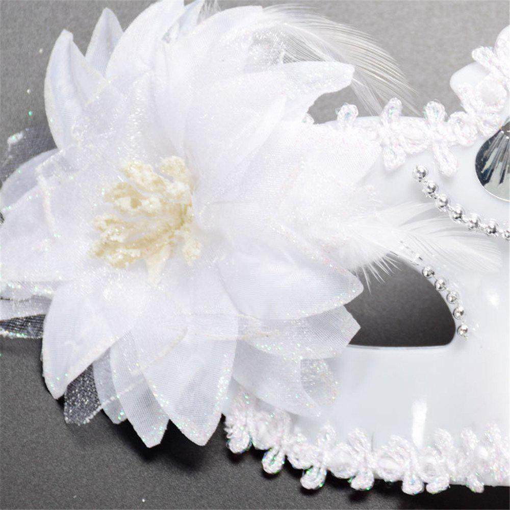 Sexy Venetian Masquerade Masks Halloween Party Princess Lace Feather Ball Pattern Women Half Face Eye Mask Hot Sale - WHITE