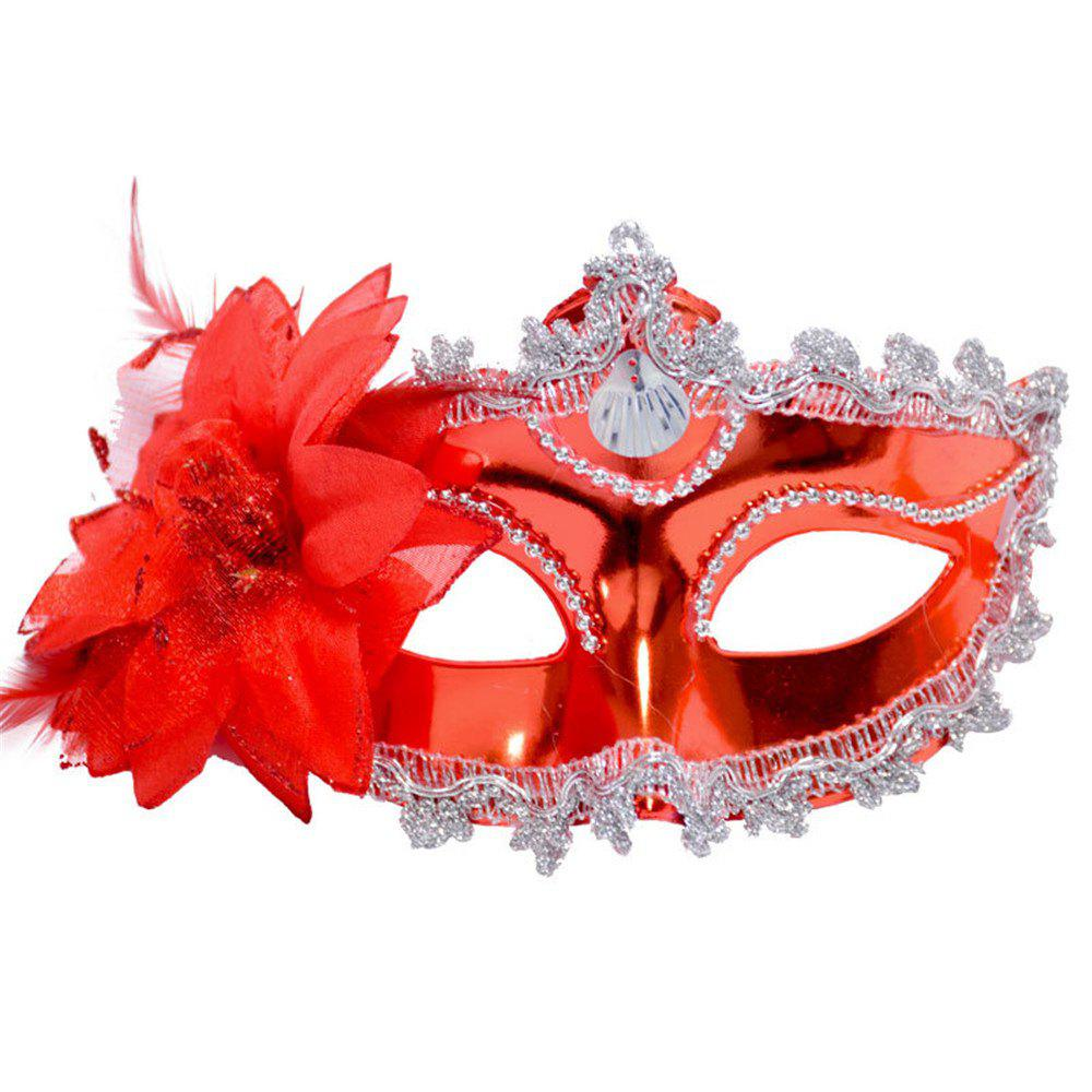 Sexy Venetian Masquerade Masks Halloween Party Princess Lace Feather Ball Pattern Women Half Face Eye Mask Hot Sale - RED