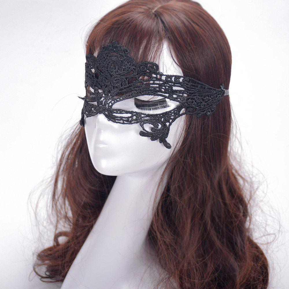 Sexy Black Lace Hollow Mask Goggles Nightclub Fashion Queen Female for Masquerade Party - BLACK