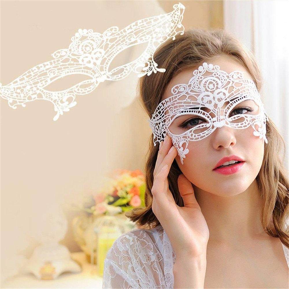 Sexy Black Lace Hollow Mask Goggles Nightclub Fashion Queen Female for Masquerade Party - WHITE