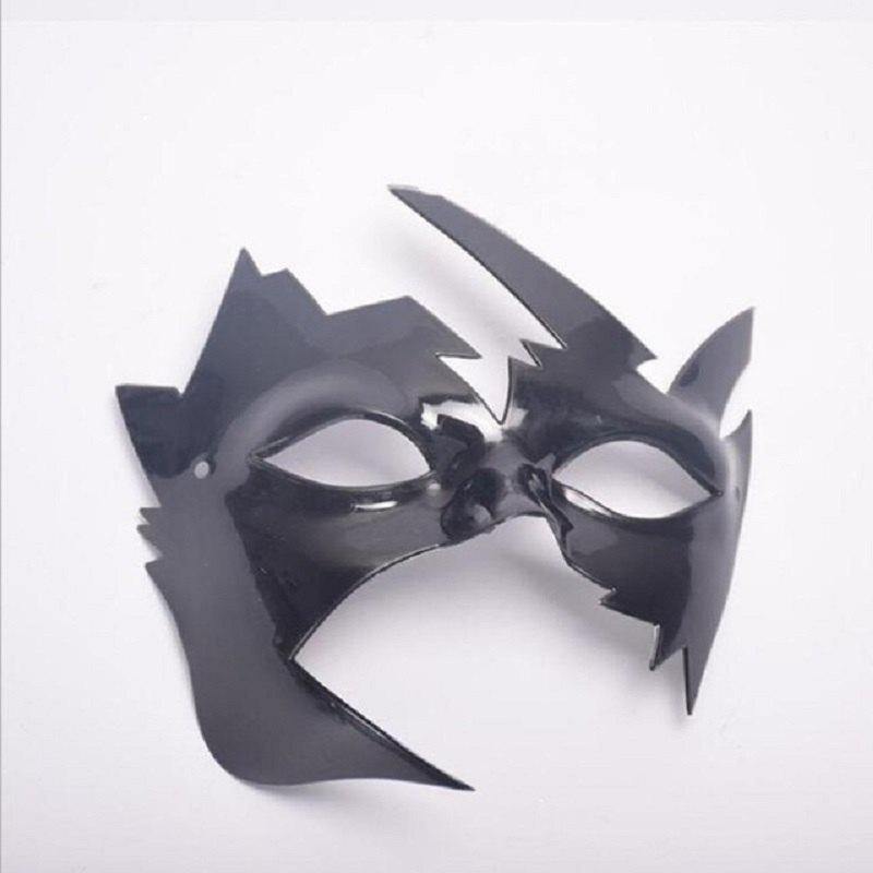 Mascarade Masque d'Halloween Maple Leaves Masques en plastique Vintage Style Party d'anniversaire - Noir