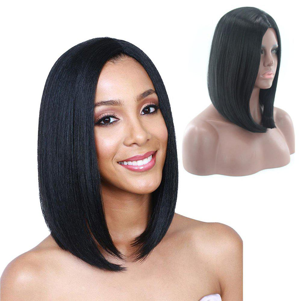 Ladies Short Straight Hair Wig - BLACK