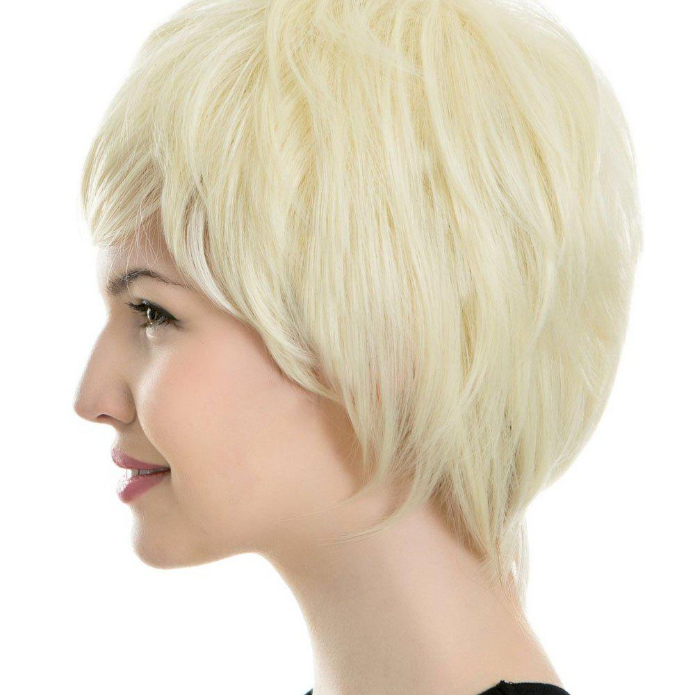 Ladies Pale Gold Flat Bangs Received Face Short Hair Wigs - SUNFLOWER