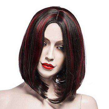 Ladies Points Pear Roll Wigs - BLACK / WINE RED