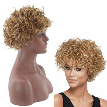 Lady Small Volume Golden Explosion Head Short Hair Wig - GOLDEN GOLDEN