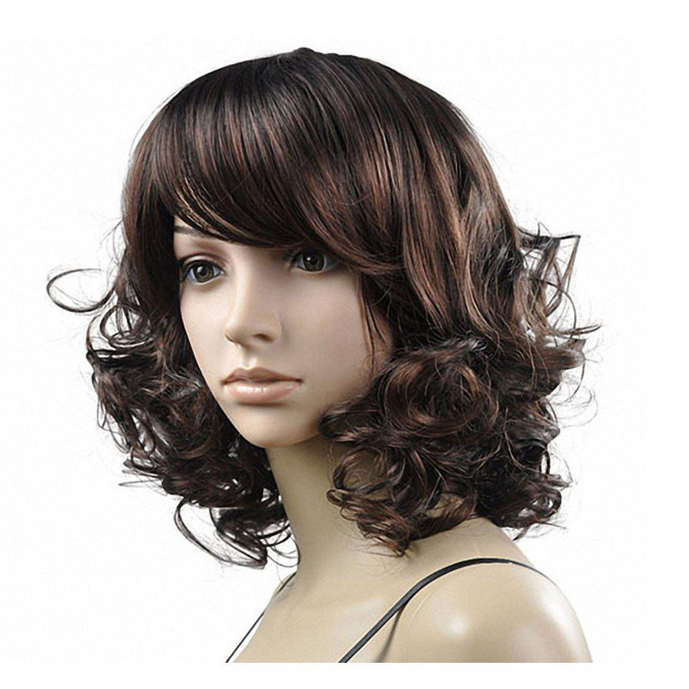 Ladies Fashion Fluffy Short Curly Wigs - DEEP BROWN