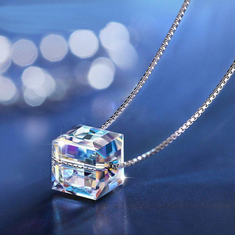 2017 Women Chain Crystal Rhinestone Square Pendant Alloy Necklace Jewelry Immortal rhinestone alloy pendant jewelry set