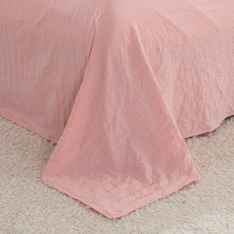 Thickened Suede Cotton Four-Piece Bedding - PINK STRIPES QUEEN