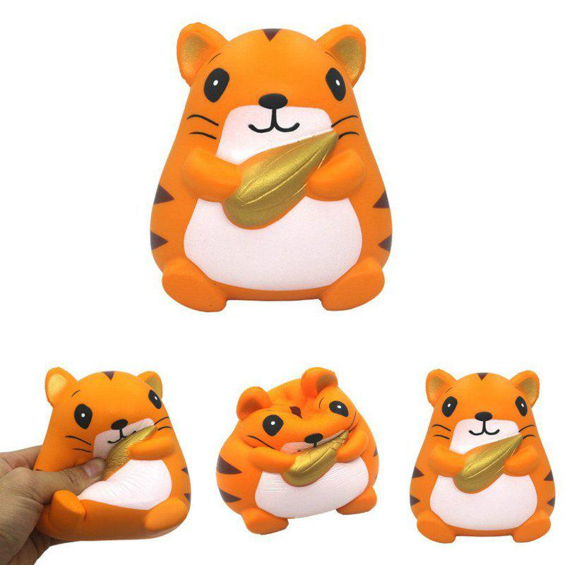 Slow Rising Stress Relief Toy Made By Enviromental PU Replica Hamster Holding Corn - BRIGHT ORANGE