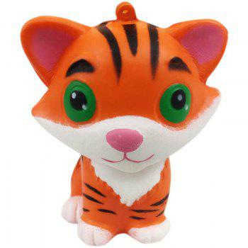 Slow Rising Stress Relief Toy Ornamental Pendant Made By Enviromental PU Replica Tiger -  BRIGHT YELLOW