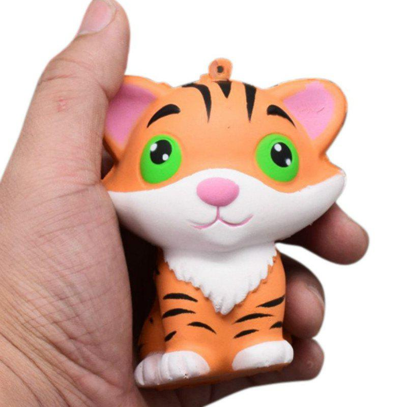 Jumbo Squishy Slow Rising Stress Relief Toy Ornamental Pendant Made By Enviromental PU Replica Tiger - BRIGHT YELLOW