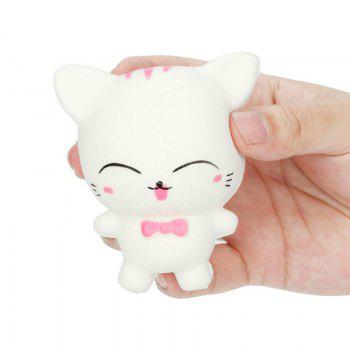 Slow Rising Stress Relief Toy Made By Enviromental PU Replica Cartoon Cat - WHITE WHITE