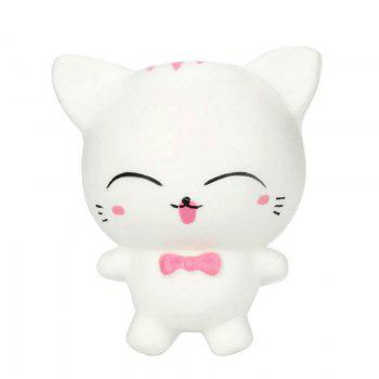 Slow Rising Stress Relief Toy Made By Enviromental PU Replica Cartoon Cat - WHITE