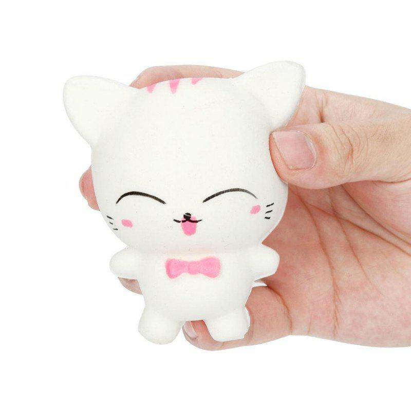 Jumbo Squishy Slow Rising Stress Relief Toy Made By Enviromental PU Replica Cartoon Cat - WHITE