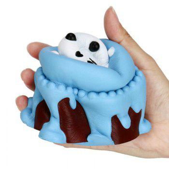 Jumbo Squishy Slow Rising soulagement du stress jouet fabriqué par Enviromental PU réplique Cartoon Panda Head gâteau - Bleu