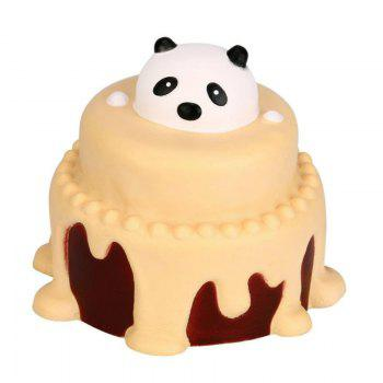 Jumbo Squishy Slow Rising Stress Relief Toy Made By Enviromental PU Replica Cartoon Panda Head Cake - YELLOW