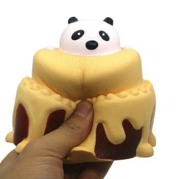 Slow Rising Stress Relief Toy Made By Enviromental PU Replica Cartoon Panda Head Cake -  YELLOW