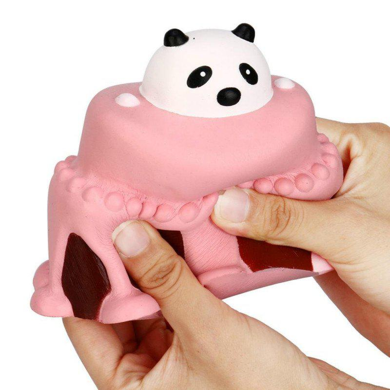 Jumbo Squishy Slow Rising Stress Relief Toy Made By Enviromental PU Replica Cartoon Panda Head Cake - PINK