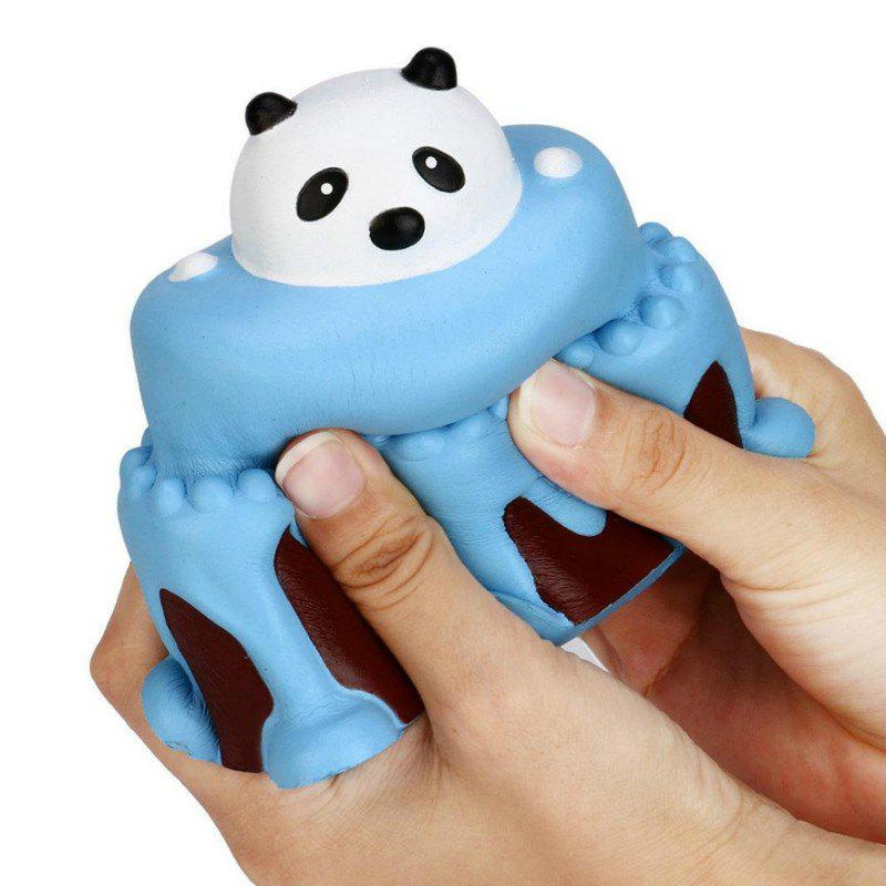 Jumbo Squishy Slow Rising Stress Relief Toy Made By Enviromental PU Replica Cartoon Panda Head Cake - BLUE