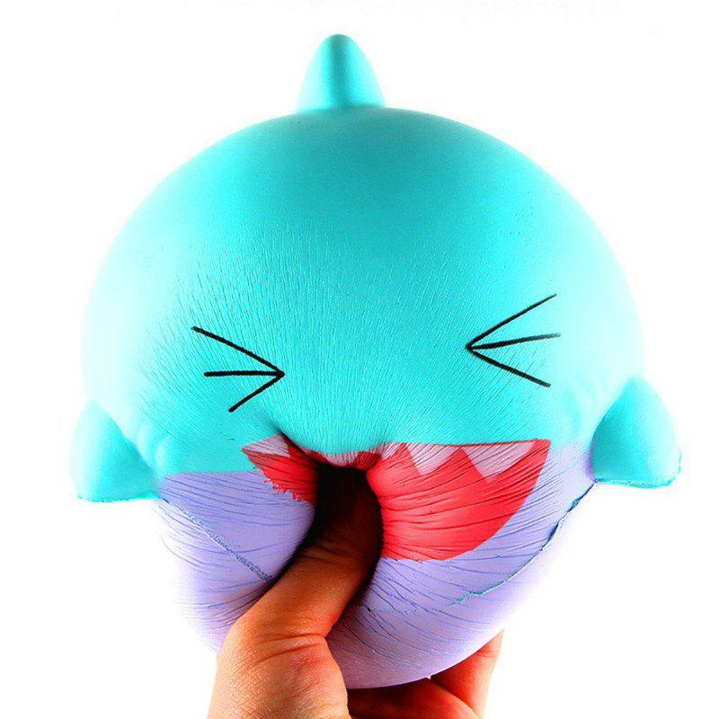 Jumbo Squishy Slow Rising Stress Relief Toy Made By Enviromental PU Replica Cartoon Shark Head - GREEN