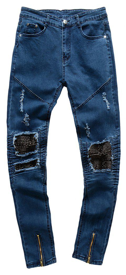 Spell Hole Trend Jeans - BLUE 32