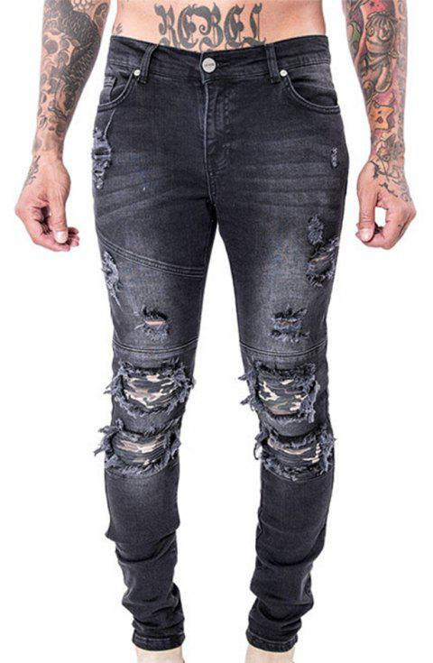 Spell Hole Trend Jeans - BLACK 28