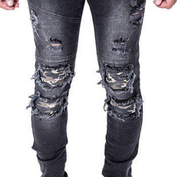Spell Hole Trend Jeans - BLACK 35