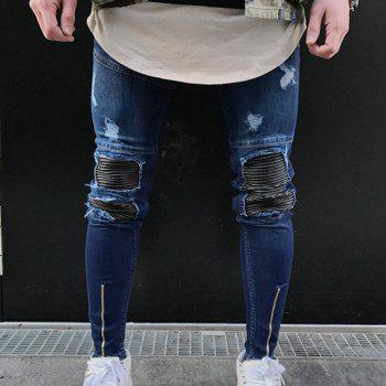 Spell Hole Trend Jeans - BLUE 35