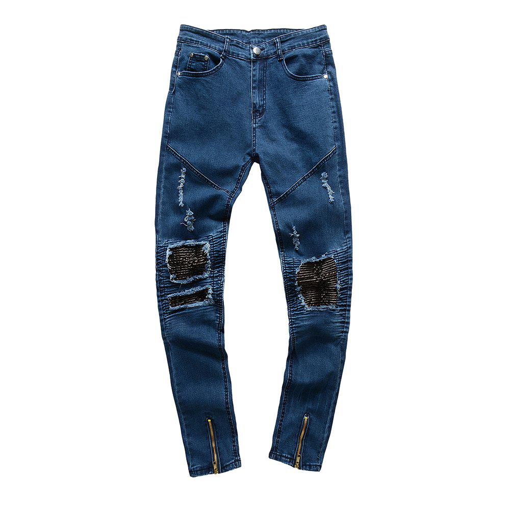 Spell Hole Trend Jeans - BLUE 33