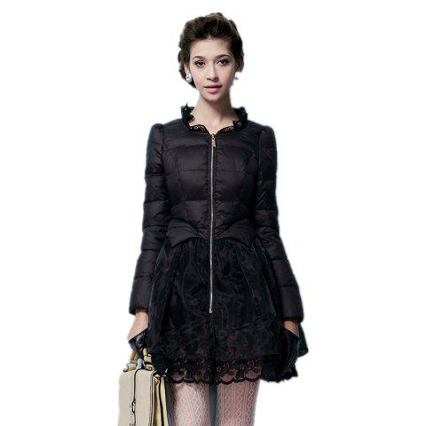 Lace Gored Slim Luxury Down Feather Long Thickening Coat - BLACK XL