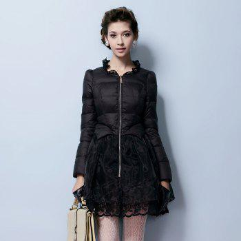 Lace Gored Slim Luxury Down Feather Long Thickening Coat - BLACK L