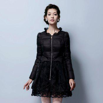 Lace Gored Slim Luxury Down Feather Long Thickening Coat - BLACK M