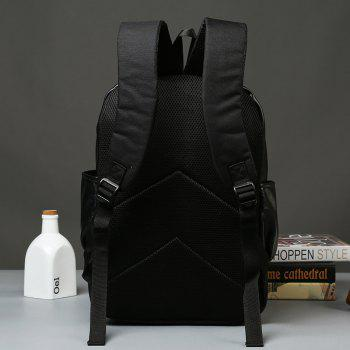 Backpack Men's Korean Leather Fashion Outdoor Travel Knapsack Back Bag - BLACK