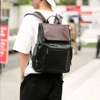 British High School Students Leather Rucksack Travel Backpack Men's Knapsack Shoulder Bag - BLACK