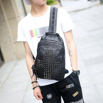 Multifunctional Korean RucksackRivet Knapsack Leather Unbalance Backpack Fashion Bag for iPad - BLACK