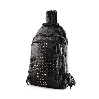 Multifunctional Korean RucksackRivet Knapsack Leather Unbalance Backpack