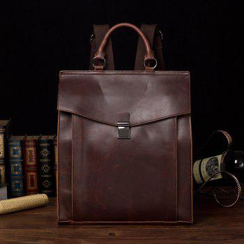 Korean Shoulder Bag Messenger Backpack Leather Business Stereotype Knapsack - COFFE