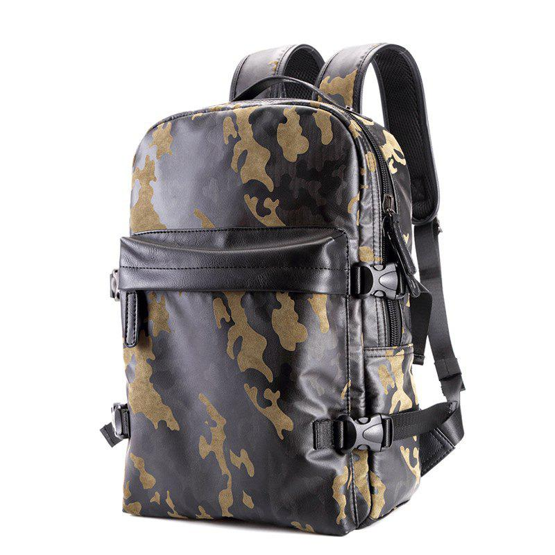Fashion Camouflage Men's Leather Backpack Travel Large Capacity Rucksack Knapsack - CAMOUFLAGE