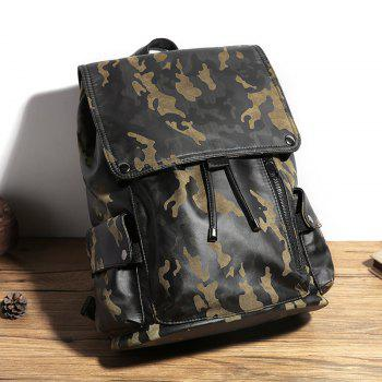 Camouflage Men's Leather Backpack Korean Travel Outdoor Rucksack Multi-functional Knapsack -  CAMOUFLAGE