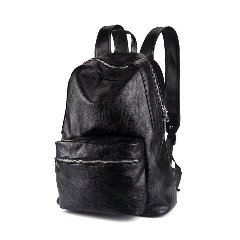 Leather Men's Rucksack Bag Korean Fashion Students Backpack Knapsack - BLACK