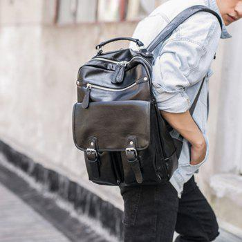 Backpack Men's Korean Fashion Rucksack Leather Knapsack Students Travel Bag -  BLACK