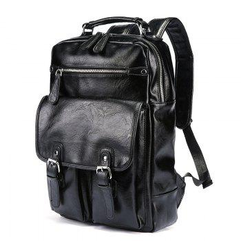 Backpack Men's Korean Fashion Rucksack Leather Knapsack Students Travel Bag - BLACK BLACK