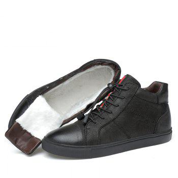 Men Special Genuine Leather Casual Shoes - BLACK 43