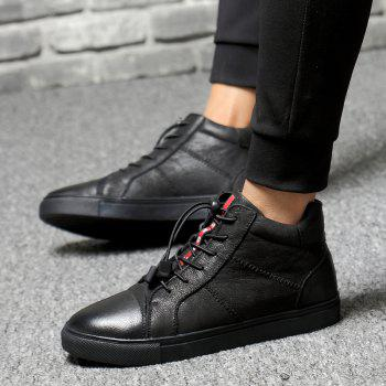 Men Special Genuine Leather Casual Shoes - BLACK 44